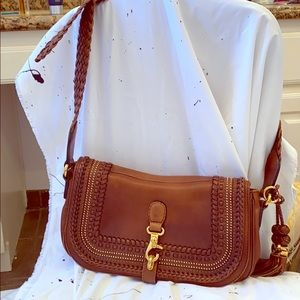 Gucci Saddle Brown Shoulder Bag with Gold accents